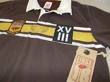 HAWTHORN HAWKS - OFFICIAL MENS BOUNDRY LINE POLO SHIRT-MED- SEE DESC FOR SIZING