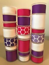 LOT OF 21 YDS. OF GROSGRAIN RIBBON - PURPLE - WHITE  - FUCHSIA  -  B01500