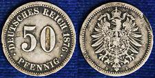 50 PFENNIG 1876 B IMPERO KAISERREICH GERMANIA GERMANY BB VF #7482