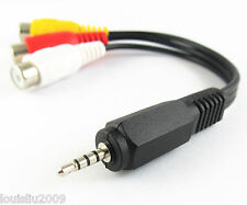 1pc Audio Video Joint Adapter Cable 2.5mm Male Plug to 3 RCA Jack Female NEW