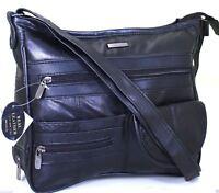 Women s Real Leather Handbag Organiser Cross Body Bag Shoulder Bag Purse Black