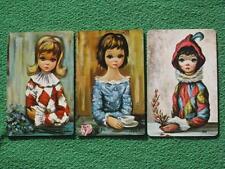 """BIG EYES"" Harlequin Girls Art Swap Cards Vintage 1960's MINT 3 Diff Eden & Maio"