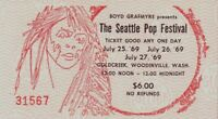 THE DOORS / LED ZEPPELIN 1969 SEATTLE POP FESTIVAL UNUSED ORIGINAL TICKET