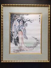 Old Chinese Orig Ink Watercolor Painting Beautiful Robed Lady CHAN FOON YU #1