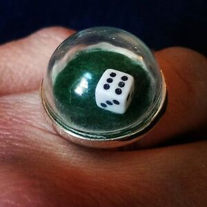 Unique LAS VEGAS CASINO DICE RING mixed up dolly 3D adjustable SNOW GLOBE dome