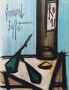 """Bernard Buffet """"Still Life with Bottle""""  -original lithograph"""