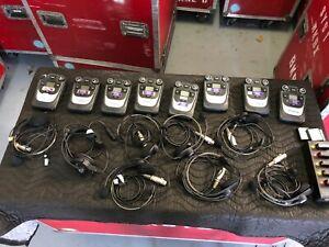 8 Belt Packs Headsets 2 CH ClearCom Tempest 900 Wireless Intercom Com System Set
