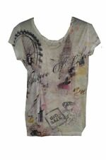 T-Shirt White New York Print. Cotton And Lace Material. Size 14