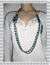 Collier  Fantaisie Doré Bleu Vert Noir Perles Strass Maille Carrée Doca