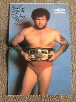 1983 NWA Harley Race Signed Poster Rare Vintage Wrestling Magazine WWE WCW FLAIR