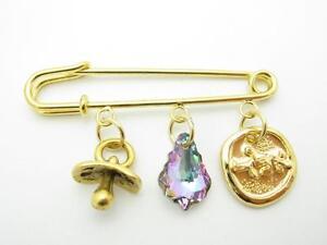 18kt Gold Plated Pacifier Evil Eye Crystal Hamsa Kabbalah Baby Pin Stroller Gift