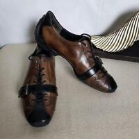 Paul Green Munchen Men's Flats Shoes Size 6M Leather Lace-Up W/Monk Strap Brown