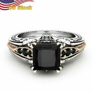 Gorgeous Women 925 Silver Plated Wedding Rings 2.10ct Black Sapphire Ring US