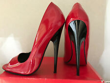 High heels Pumps 18cm 42 IT43 red leather leder fetish Made in Italy