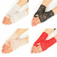 Women Evening Bridal Wedding Party Lace Fingerless Gloves Mittens Dressy