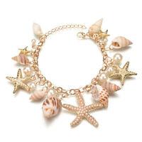 Ocean Multi Starfish Sea Star Conch Shell Pearl Chain Bracelet Bangle Charm D