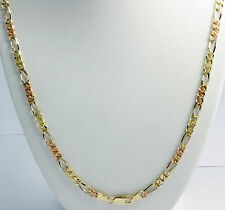 "30 gm 14k Gold Tri Color Solid Men's Figaro Chain Diamond Cut Necklace 22"" 6 mm"