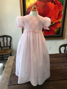 Pink Smocked Dress Girls, Heirloom Strasburg Children size 4 Y EUC