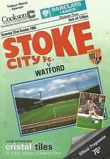 Football Programme - Stoke City v Watford - Div 2 - 22/10/1988