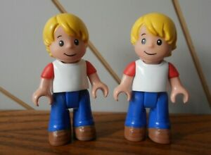 BLONDE BOY spare minifigure for building toy playsets x2 MEGA BLOKS