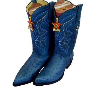 Los Altos Jean Blue Genuine Ostrich  Western Cowboy Boots (EE) 990514