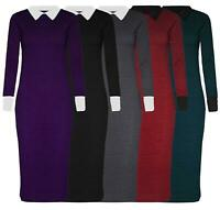New Womens Contrast Color Midi Long Sleeve Knitted Pencil Dress 8-22