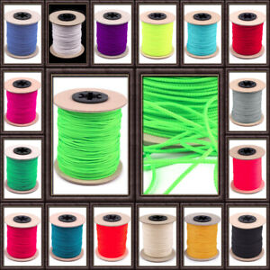 5 Meter Schnur 1,5 mm Polyester Farbwahl Neon Basteln Perlen Schmuck Armband etc