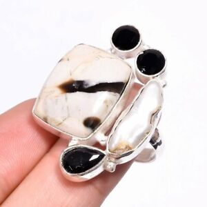 Peanut Wood Jasper & Black Onyx, Pearl Handmade Silver Jewelry Ring 7.75 US