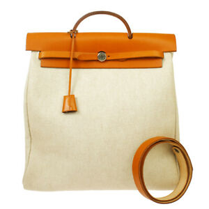 HERMES HERBAG MM 2way Hand Bag □B Natural Beige Toile H Leather 20874