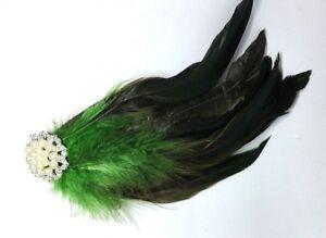 Green  & Silver Feather Fascinator Headpiece Races Diamante Hair Clip Vintage