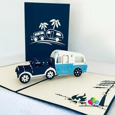 Handmade Blue 4wd Towing Vintage Caravan Pop up Card