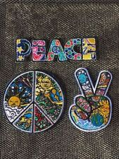 Triple Hippy set of 3 Peace Sign Patches Embroidery Sew On Iron On Appliqué