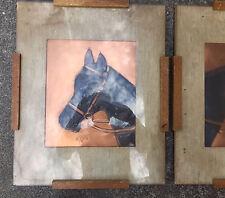 Pair Vintage Copper Art Horses Plaques Signed Boyer 1950s