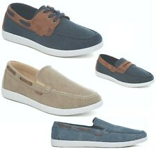 Dr Keller Mens Canvas Deck Shoes Casual Faux Leather Slip On Laces Size UK 6-12