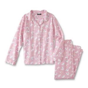 Joe Boxer Juniors' Kitty Kitten Cat Flannel Notch Collar Pajama Set - Pink