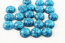 10 pcs 12mm Peacock Blue Color Flat Back Resin Cabochons Cameo - Peacock Blue