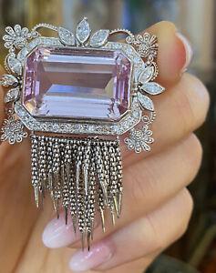Vintage 29.77 cts Kunzite and Diamond Pendant w/ Tassles in Platinum - Hm2214SIE