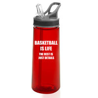 22 oz Sports Water Bottle With Straw Basketball Is Life