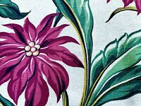 PAIR 1930's South Beach Tropics Barkcloth Vintage Fabric Drape Curtain Panels