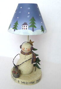 YANKEE CANDLE/CRAZY MOUNTAIN Crackled Snowman Tea Light Votive With Shade imperf