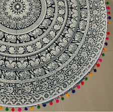 Hippie Elephant Mandala Tapestry Beach Throw Yoga Mat Towel Bonhomie Round Art