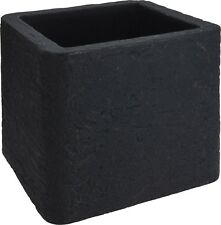 Cubo di grandi dimensioni Fioriera Vaso Quadrato Nero. larghezza 39cm doppio strato effetto pietra