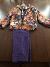 Vintage Evr Silk jogging suit Multi top and Purple pants Xl
