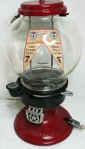 """Columbus Model """"A"""" Peanut Dispenser Red Penny Operated Circa 1930's"""
