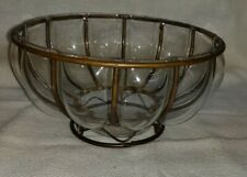 FLUTED GLASS AND ANTIQUE METAL BOWL FLOWERS FRUIT DISPLAY CANDLE HOLDER