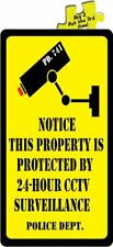 Notice This Property Protected By 24-Hour CCTV Surveillance Decal Sticker #533