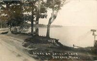 DETROIT MINNESOTA 1940s Scene Lake RPPC real photo postcard 4352