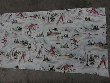 Skiing snow trees skier duck egg blue white green remnant fabric piece 85x45cm