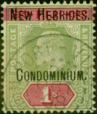 More details for new hebrides 1908 1s green & carmine sg9 fine used cds