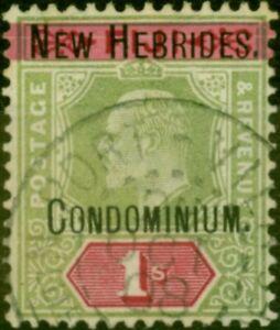 New Hebrides 1908 1s Green & Carmine SG9 Fine Used CDS